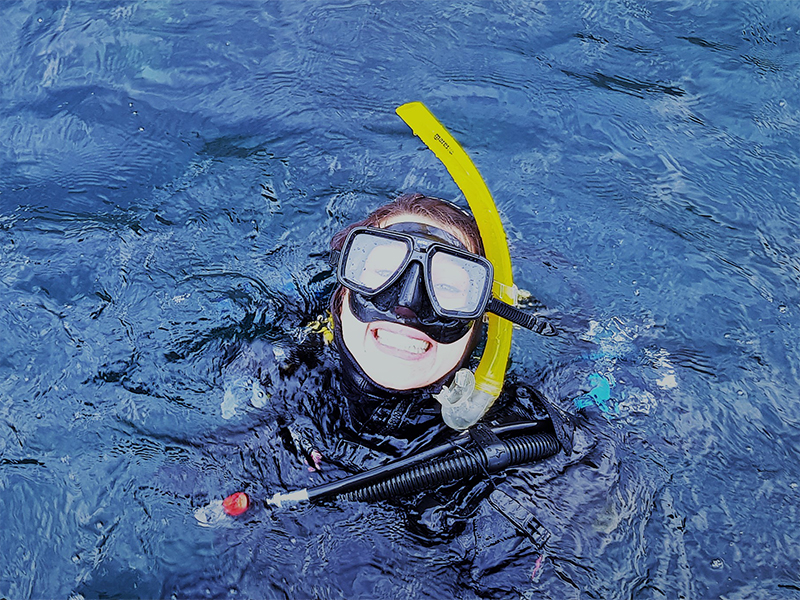 Happy Diver at Surface