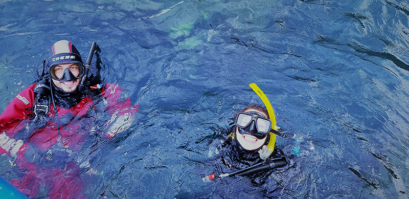PADI Instructor and Open Water Diver Student at Mare Nostrum Diving